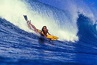 EDITORIAL ONLY. Champion bodyboarder D. Freitas catches a wave. Oahu