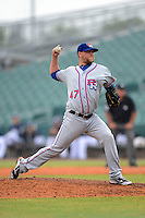 Round Rock Express pitcher Evan Meek #47 during a game against the New Orleans Zephyrs on April 15, 2013 at Zephyr Field in New Orleans, Louisiana.  New Orleans defeated Round Rock 3-2.  (Mike Janes/Four Seam Images)