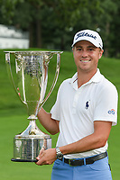 Justin Thomas (USA) holds the J.K. Wadley trophy for winning the 2019 BMW Championship, Medinah Golf Club, Chicago, Illinois, USA. 8/18/2019.<br /> Picture Ken Murray / Golffile.ie<br /> <br /> All photo usage must carry mandatory copyright credit (© Golffile | Ken Murray)