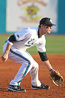 Josh Conway #16 of the Coastal Carolina University Chanticleers playing 3rd base against the Boston College Eagles at Watson Stadium at Vrooman Field in Conway, South Carolina on February 18, 2011. Photo by Robert Gurganus/Four Seam Images