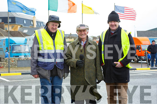 Waiting to receive the Starters Orders at the Ballyheigue Races on Wednesday last l-r, Donal O'Sullivan (Sound), Tom Lawlor (PRO of Ballyheigue Races) and Gerry Daly (Race Commentator).