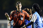 18 October 2012: Referee Andrew Chapin warns UNC's Satara Murray (44). The University of North Carolina Tar Heels defeated the Duke University Blue Devils 2-0 at Koskinen Stadium in Durham, North Carolina in a 2012 NCAA Division I Women's Soccer game.