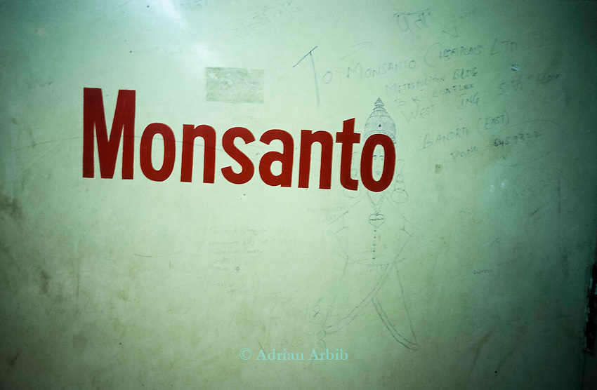 The foyer of the Monsanto offices in Bombay, India.