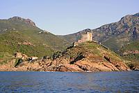 - Corsica, castle in the Girolata Bay, UNESCO Human Heritage site<br /> <br /> - Corsica, castello nella baia di Girolata, patrimonio mondiale dell'Umanit&agrave;