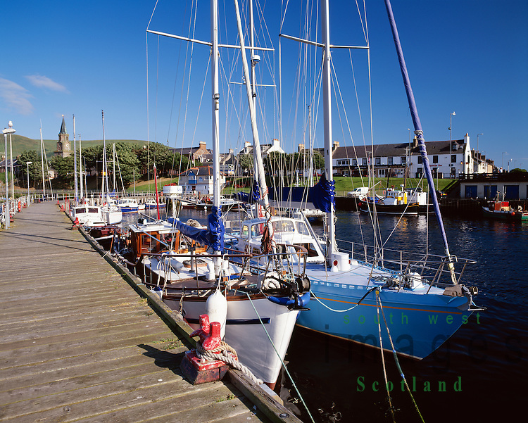 Yachts berthed in Girvan Harbour Ayrshire Scotland UK