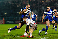 Jamie Roberts of Bath Rugby goes on the attack. Premiership Rugby Cup match, between Bath Rugby and Gloucester Rugby on February 3, 2019 at the Recreation Ground in Bath, England. Photo by: Patrick Khachfe / Onside Images