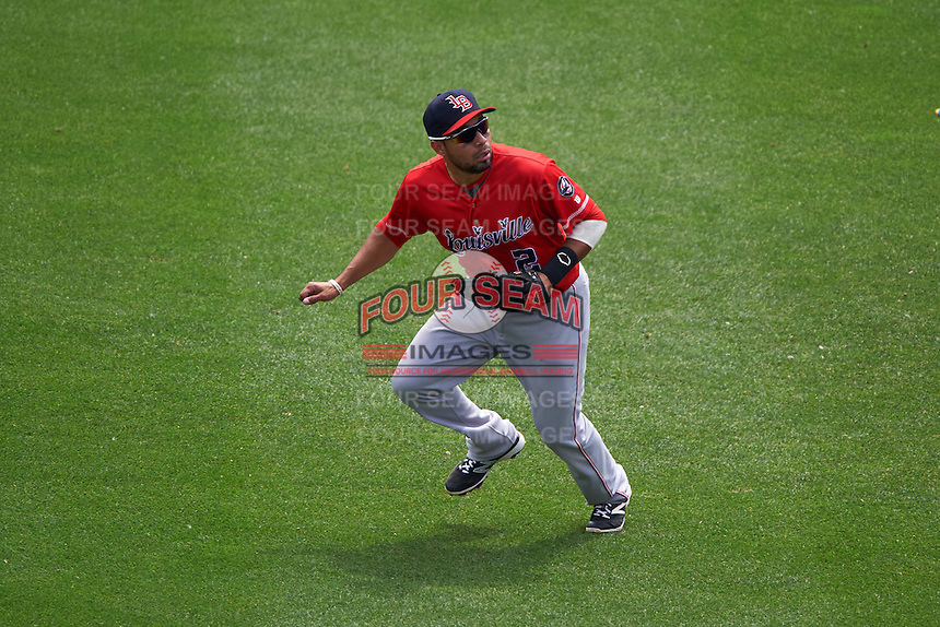 Louisville Bats center fielder Hernan Iribarren (2) during a game against the Buffalo Bisons on June 23, 2016 at Coca-Cola Field in Buffalo, New York.  Buffalo defeated Louisville 9-6.  (Mike Janes/Four Seam Images)