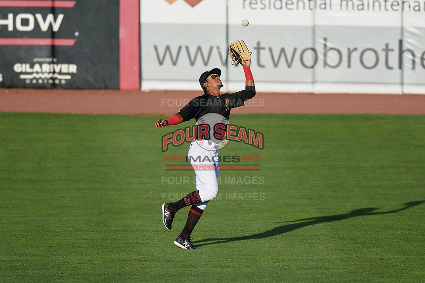 Kane County Cougars right fielder Yan Sanchez (2) tracks a fly ball during a game against the South Bend Cubs on July 21, 2018 at Northwestern Medicine Field in Geneva, Illinois.  South Bend defeated Kane County 4-2.  (Mike Janes/Four Seam Images)