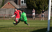 Adam Thomas of Flackwell Heath sees his shot saved by Goalkeeper Mark Pritchett of Tuffley Rovers during the UHLSport Hellenic Premier League match between Flackwell Heath v Tuffley Rovers at Wilks Park, Flackwell Heath, England on 20 April 2019. Photo by Andy Rowland.