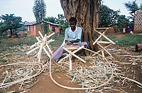 Villager producing seats with rattan wood