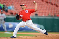 Buffalo Bisons pitcher Ricky Romero #39 during the first game of a double header against the Lehigh Valley IronPigs on June 7, 2013 at Coca-Cola Field in Buffalo, New York.  Buffalo defeated Lehigh Valley 4-3.  (Mike Janes/Four Seam Images)