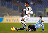 Calcio, Serie A: Lazio vs Juventus. Roma, stadio Olimpico, 4 dicembre 2015.<br /> Juventus&rsquo; Patrice Evra, left, is challenged by Lazio&rsquo;s Miroslav Klose during the Italian Serie A football match between Lazio and Juventus at Rome's Olympic stadium, 4 December 2015.<br /> UPDATE IMAGES PRESS/Riccardo De Luca