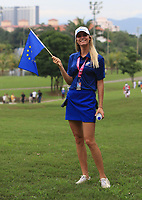 Rafa Cabrera Bello's (Europe) wife Sophia on the 14th fairway during the Singles Matches of the Eurasia Cup at Glenmarie Golf and Country Club on the Sunday 14th January 2018.<br /> Picture:  Thos Caffrey / www.golffile.ie