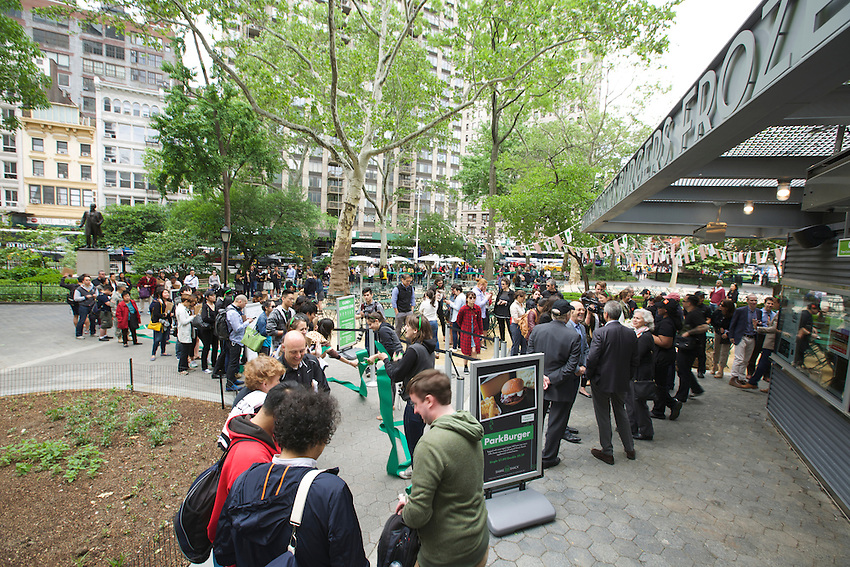 New York, NY - May 20, 2015: The original Shake Shack location reopens in Madison Square Park after months of renovations.<br /> <br /> &copy; Clay Williams / claywilliamsphoto.com