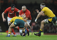 Wales' Ken Owens is tackled by Australia's Tolu Latu<br /> <br /> Photographer Ian Cook/CameraSport<br /> <br /> Under Armour Series Autumn Internationals - Wales v Australia - Saturday 10th November 2018 - Principality Stadium - Cardiff<br /> <br /> World Copyright © 2018 CameraSport. All rights reserved. 43 Linden Ave. Countesthorpe. Leicester. England. LE8 5PG - Tel: +44 (0) 116 277 4147 - admin@camerasport.com - www.camerasport.com
