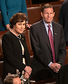 United States Senator Jacky Rosen (Democrat of Nevada), left, and US Senator Richard Blumenthal (Democrat of Connecticut), right, on the floor of the US House Chamber prior to the arrival of Jens Stoltenberg, Secretary General of the North Atlantic Treaty Organization (NATO) who will address a joint session of the United States Congress in the US Capitol in Washington, DC on Wednesday, April 3, 2019.<br /> Credit: Ron Sachs / CNP