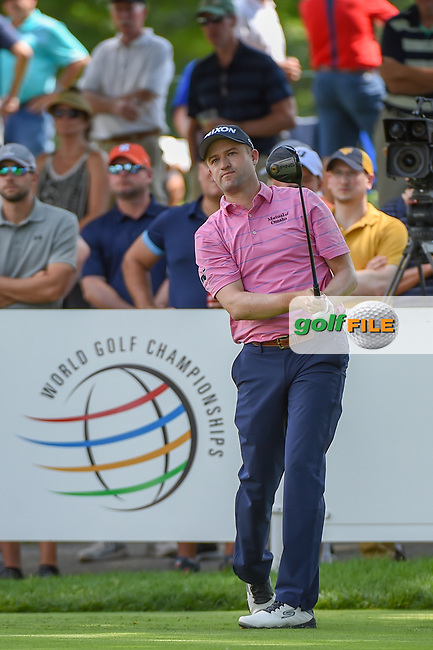 Russell Knox (SCO) watches his tee shot on 18 during 2nd round of the World Golf Championships - Bridgestone Invitational, at the Firestone Country Club, Akron, Ohio. 8/3/2018.<br />
