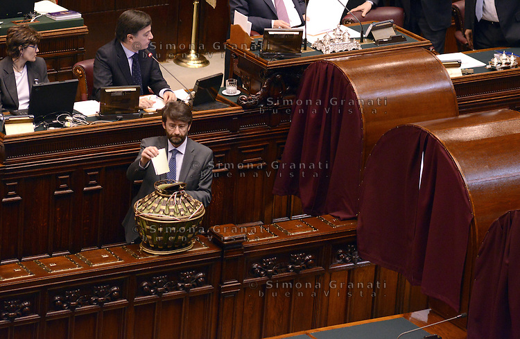 Roma, 16 Marzo 2013.Montecitorio, Camera dei Deputati.Secondo giorno in Aula della XVII Legislatura del Parlamento italiano.Elezione del Presidente.Dario Franceschini al voto