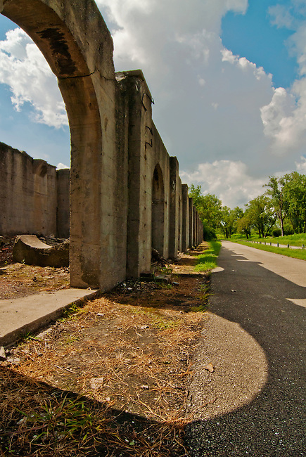 The Joliet Iron Works Historic Site is now a county Forest Preserve, Joliet, Will County, Illinois, seen are concrete formation ruins