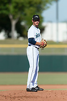 Peoria Javelinas pitcher Anthony Misiewicz (56), of the Seattle Mariners organization, gets ready to deliver a pitch during the Arizona Fall League Championship game against the Salt River Rafters at Scottsdale Stadium on November 17, 2018 in Scottsdale, Arizona. Peoria defeated Salt River 3-2 in 10 innings. (Zachary Lucy/Four Seam Images)