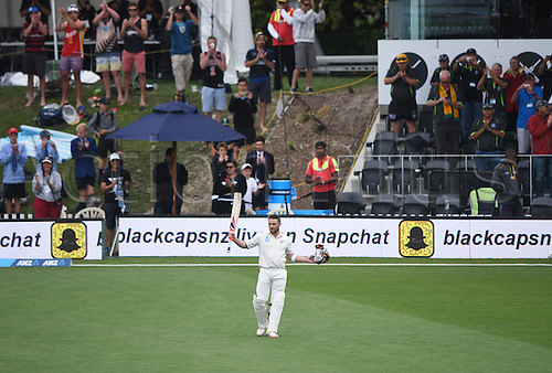 22.02.2016. Christchurch, New Zealand.  Brendon McCullum after his last innings before retirement on Day 3 of the 2nd test match. New Zealand Black Caps versus Australia. Hagley Oval in Christchurch, New Zealand. Monday 22 February 2016.