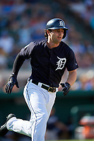 Detroit Tigers first baseman Pete Kozma (33) runs to first base during a Grapefruit League Spring Training game against the Atlanta Braves on March 2, 2019 at Publix Field at Joker Marchant Stadium in Lakeland, Florida.  Tigers defeated the Braves 7-4.  (Mike Janes/Four Seam Images)
