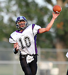 HARTFORD, SD - AUGUST 30: Isaac Faldmo #10 from Dakota Valley looks for a receiver against West Central during the first quarter of their game Friday night at West Central. (Photo by Dave Eggen/Inertia)