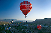 Cappadocia, Nevsehir, Turkey, May 2010. Hot air ballooning is the number one activity in Capadocia. The fairy landscape of Goreme National Park is unique in its kind. Millions of years long, wind and water sculpted the tuffstone into spectacular rock formations.  Photo by Frits Meyst / MeystPhoto.com