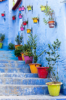 Chefchaouen, Morocco.  Colorful Flower Pots Line Steps on a Street Leading up a Hill.