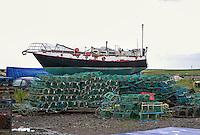 lobster pots in front of the Wanja, Holy Island and its environs