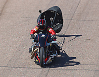 Feb 23, 2019; Chandler, AZ, USA; NHRA top fuel Harley Davidson nitro motorcycle rider Doug Vancil during qualifying for the Arizona Nationals at Wild Horse Pass Motorsports Park. Mandatory Credit: Mark J. Rebilas-USA TODAY Sports