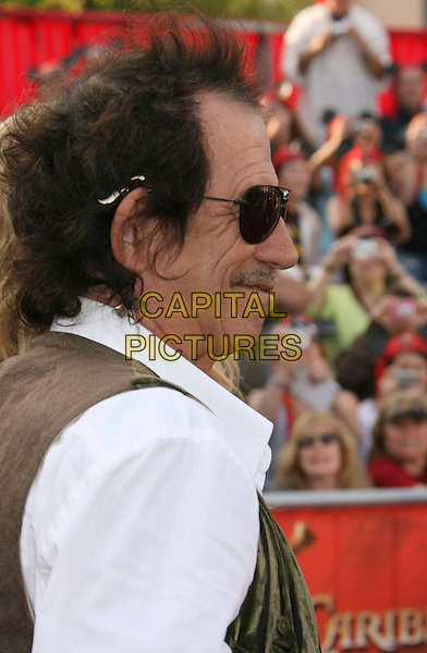 "KEITH RICHARDS.""Pirates Of The Caribbean: At World's End"" World Premiere held at Disneyland, Anaheim, California, USA,.May 19th, 007.3 headshot portrait mustache facial hair aviator sunglasses shades profile.CAP/ADM/RE.©Russ Elliot/AdMedia/Capital Pictures"
