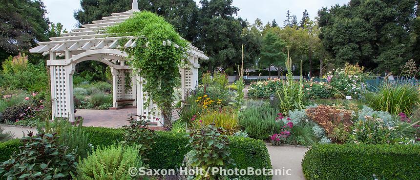 Gazebo and perennial beds in Gamble Garden, Palo Alto, California