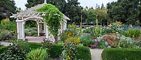 Gazebo and perennial beds in Gamble Garden, Palo Alto, California