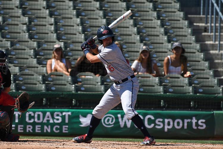May 25, 2017; Stockton, CA, USA; Saint Mary's Gaels shortstop Conor Thane during the WCC Baseball Championship at Banner Island Ballpark.