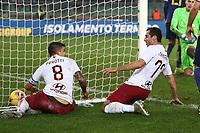 Henrikh Mkhitaryan of AS Roma celebrates with Diego Perotti after scoring the goal of 1-3 <br /> Verona 1-12-2019 Stadio Bentegodi <br /> Football Serie A 2019/2020 <br /> Hellas Verona - AS Roma <br /> Photo Gino Mancini / Insidefoto