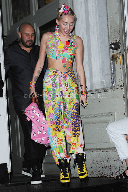 WWW.ACEPIXS.COM<br /> September 10, 2014 New York City<br /> <br /> Miley Cyrus leaving VMagazine in New York City on September 10, 2014.<br /> <br /> By Line: Kristin Callahan/ACE Pictures<br /> ACE Pictures, Inc.<br /> tel: 646 769 0430<br /> Email: info@acepixs.com<br /> www.acepixs.com