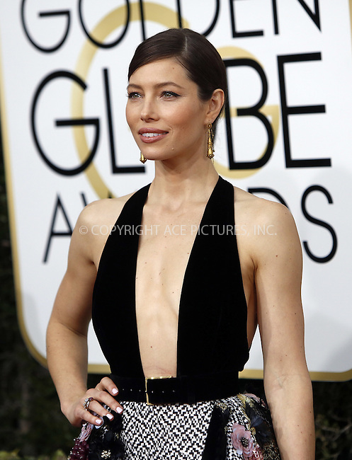 www.acepixs.com<br /> <br /> January 8 2017, LA<br /> <br /> Jessica Biel arriving at the 74th Annual Golden Globe Awards at the Beverly Hilton Hotel on January 8, 2017 in Beverly Hills, California.<br /> <br /> By Line: Famous/ACE Pictures<br /> <br /> <br /> ACE Pictures Inc<br /> Tel: 6467670430<br /> Email: info@acepixs.com<br /> www.acepixs.com