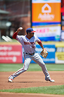 Harrisburg Senators third baseman Adrian Sanchez (16) throws to first base during an Eastern League game against the Erie SeaWolves on June 30, 2019 at UPMC Park in Erie, Pennsylvania.  Erie defeated Harrisburg 4-2.  (Mike Janes/Four Seam Images)
