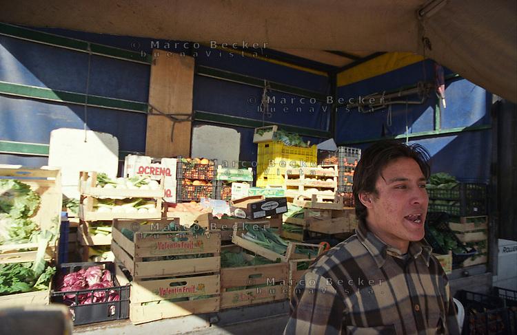 Milano, mercato rionale al quartiere Bruzzano, periferia nord. Venditore immigrato sudamericano --- Milan, local market at Bruzzano district, north periphery. Immigrant vendor from South America