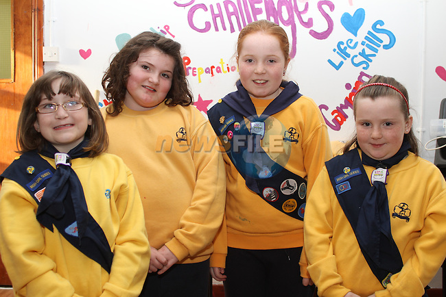 St.Laurences Gate Brownies, Laura Mulligan, Dairín Murphy, Sophie Thornberry and Megan Kerr enjoying their new building on Scholes Lane....(Photo credit should read Jenny Matthews www.newsfile.ie)....This Picture has been sent you under the conditions enclosed by:.Newsfile Ltd..The Studio,.Millmount Abbey,.Drogheda,.Co Meath..Ireland..Tel: +353(0)41-9871240.Fax: +353(0)41-9871260.GSM: +353(0)86-2500958.email: pictures@newsfile.ie.www.newsfile.ie.