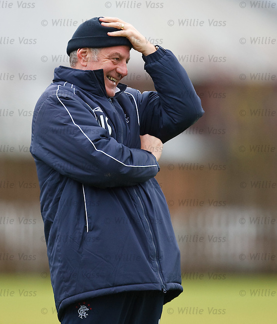 Walter Smith laughing at the antics of his players at training