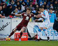 Adem Ljalic and Piotr Zielinski  during the  italian serie a soccer match,between SSC Napoli and Torino       at  the San  Paolo   stadium in Naples  Italy , December 18, 2016