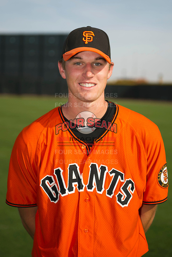 San Francisco Giants minor league pitcher Chris Stratton #75 poses for a photo after a instructional league game against the Colorado Rockies at the Salt River Flats Complex on October 4, 2012 in Scottsdale, Arizona.  (Mike Janes/Four Seam Images)