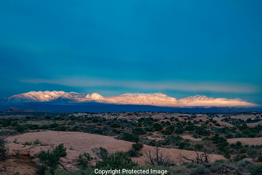 Late spritng snow on La Sal Mountains, near Moab, Utah
