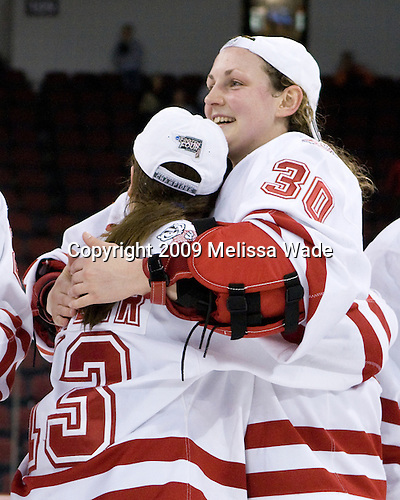 Erika Lawler (Wisconsin - 13), Jessie Vetter (Wisconsin - 30) - The University of Wisconsin Badgers defeated the Mercyhurst College Lakers 5-0 to win the 2009 NCAA D1 National Championship in the Frozen Four final game at Agganis Arena, in Boston, Massachusetts, on Sunday, March 22, 2009.