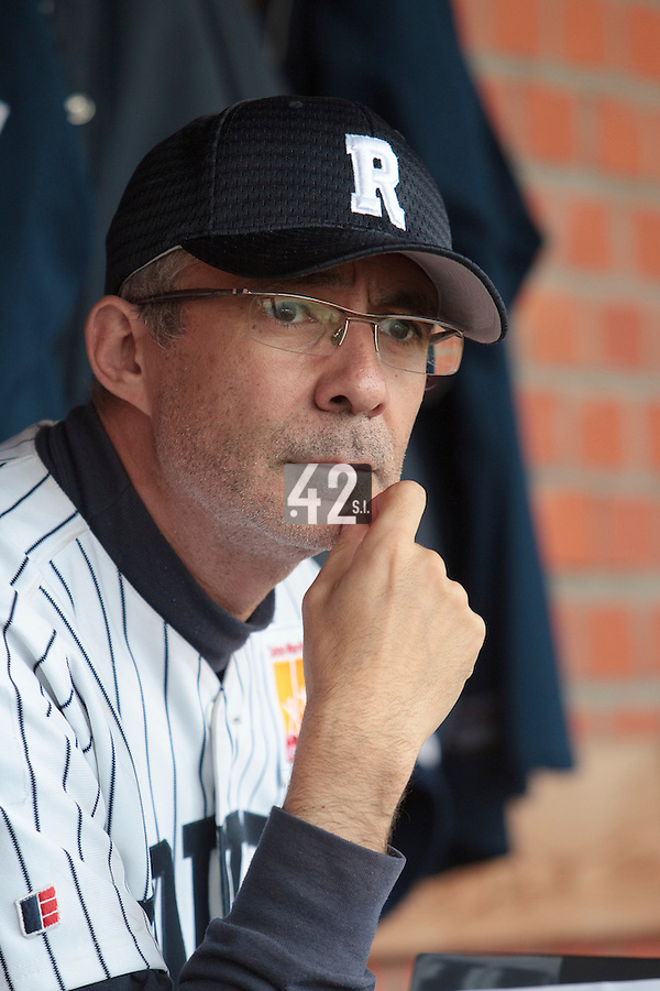03 June 2010: Coach Francois Colombier is seen in the dugout during the 2010 Baseball European Cup match won  8-4 by C.B. Sant Boi over the Rouen Huskies, at the Kravi Hora ballpark, in Brno, Czech Republic.