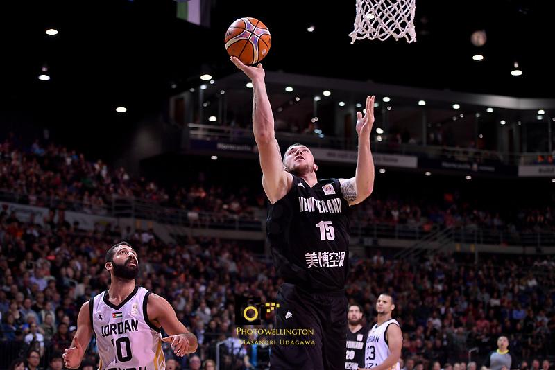 New Zealand Tall Blacks&rsquo; Tom Vodanovich in action during the FIBA World Cup Basketball Qualifier - NZ Tall Blacks v Jordan at Horncastle Arena, Christchurch, New Zealand on Thursday 29 November  2018. <br /> Photo by Masanori Udagawa. <br /> www.photowellington.photoshelter.com