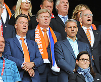 20170806 - ENSCHEDE , NETHERLANDS : Illustration shows Marco Van Basten (R) and Louis Van Gaal (L)  pictured during the female soccer game between The Netherlands and Denmark  , the final at the Women's Euro 2017 , European Championship in The Netherlands 2017 , Sunday 6th of August 2017 at Grolsch Veste Stadion FC Twente in Enschede , The Netherlands PHOTO SPORTPIX.BE | DIRK VUYLSTEKE