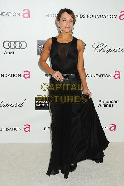 Charity Shea.20th Annual Elton John Academy Awards Viewing Party held at West Hollywood Park, West Hollywood, California, USA..February 26th, 2012.full length black dress sleeveless sheer clutch bag.CAP/ADM/BP.©Byron Purvis/AdMedia/Capital Pictures.